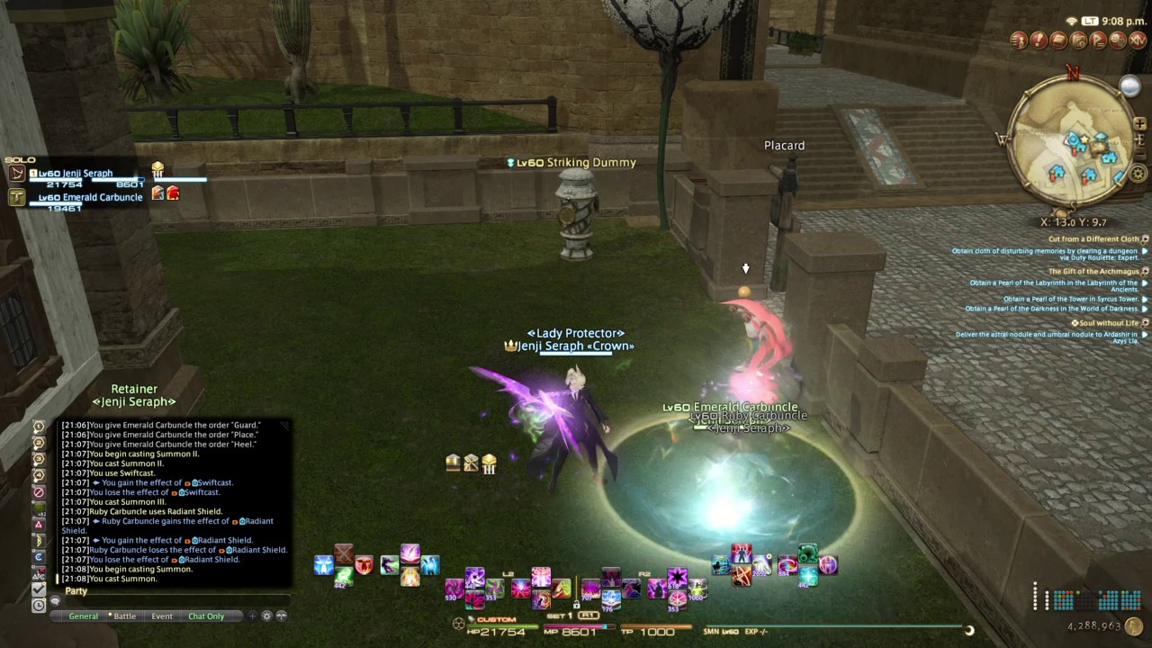 FFXIV cross hotbars demonstration and HUD set-up (PS4)