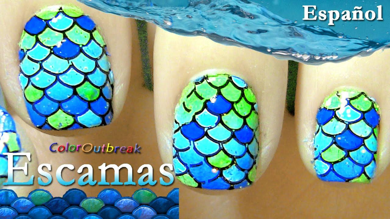 ღEstampado de Uñas- Uñas con Escamas- Escamas de Pescado, Sirena ...