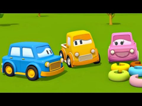 Educational cartoon. Learn colors. Kids educational games. Clever cars and pyramid.