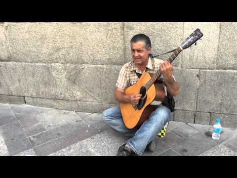 Madrid/Spain - Street Musician with a Guitar