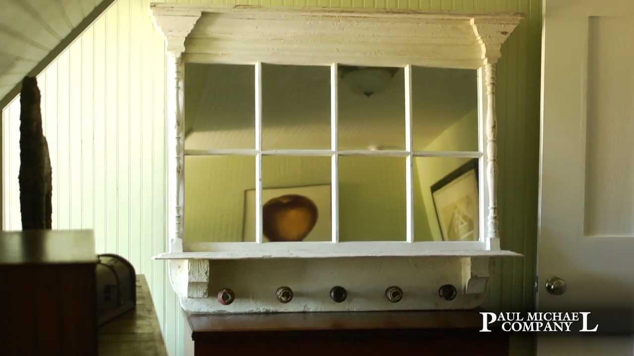 Repurposed Antique Window Mirror with Old Door Knob Hooks