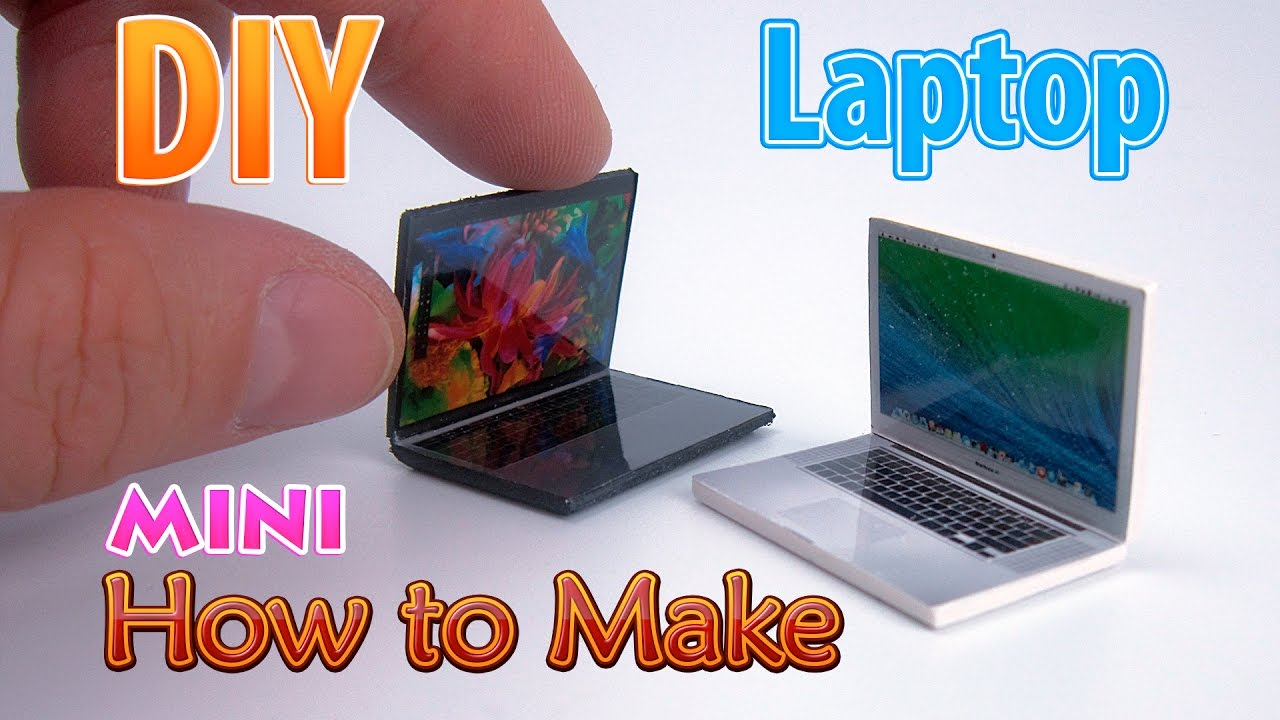 diy realistic miniature laptop | dollhouse | no polymer clay