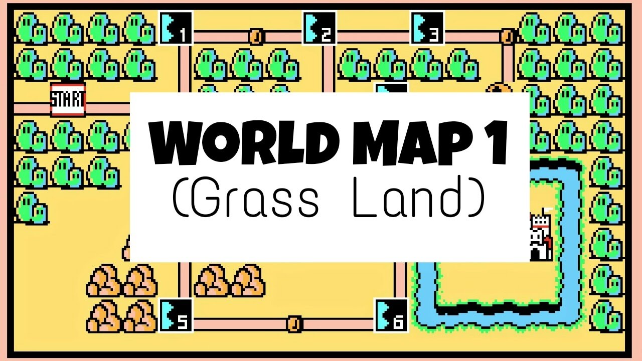 Mario 3 World Map.Super Mario Bros 3 World Map 1 Grass Land Sountrack Youtube