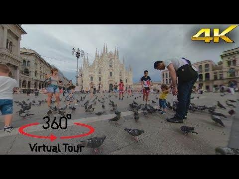 Milano - Duomo Square Milan Italy - Piazza del Duomo - 360° Camera - Video 4K - Virtual Reality