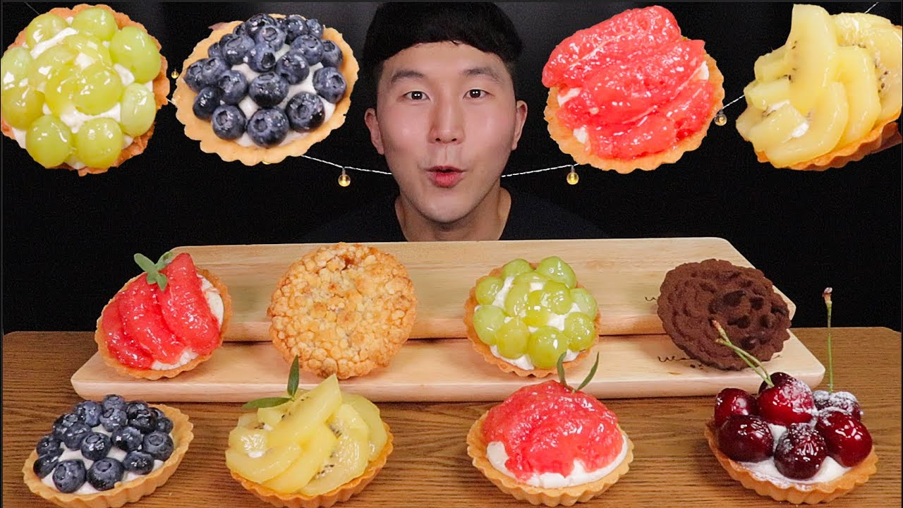 [SUB]OH! 상큼하게 톡톡터지는 생과일 타르트 먹방 (Kiwi, Grapefruit, Blueberry, Cherry Tart)MUKBANG
