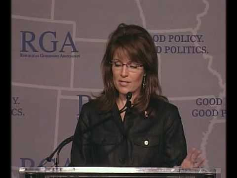 Governor Sarah Palin speaks at the Republican Governors Association Annual Conference