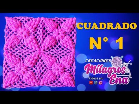 Cuadrados tejidos a crochet para colchas cojines y - Colchas de crochet paso a paso ...