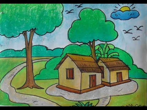 Art Craft How To Draw Village Scenery With Colour গ র ম র
