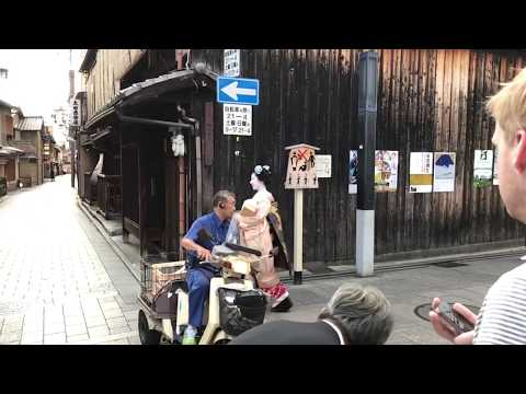 Maiko almost hit by scooter Gion Kyoto Japan (HD slow motion)
