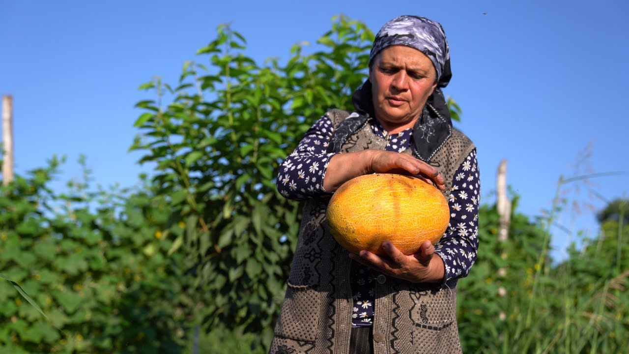 Harvesting Melons from Garden and Making Melon Syrup, Outdoor Cooking