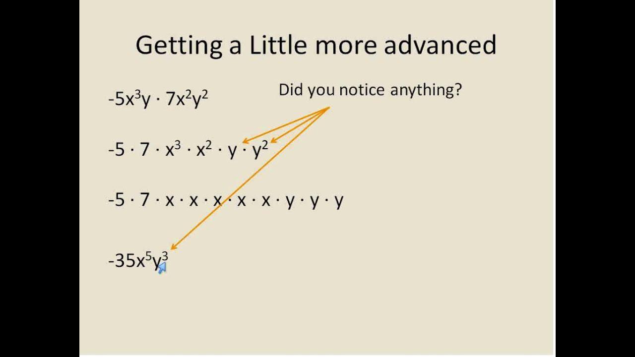 multiplying monomials  simplifying math
