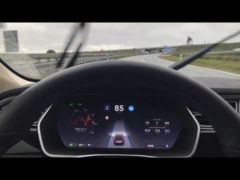 Tesla Autopilot AP2 2017.42 - rainy day