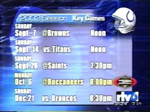 April 2003 - Indianapolis Colts Schedule is Released