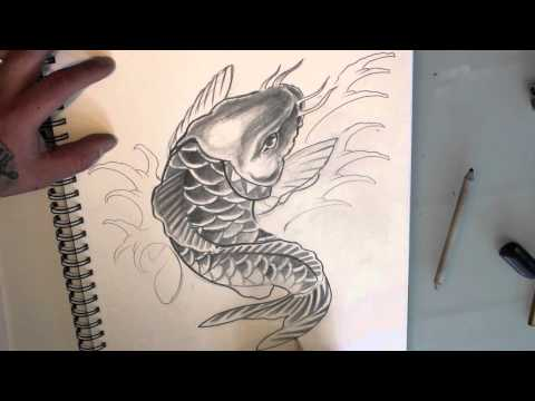 Video how to draw a koi fish tattoo design quick sketch for Fish vagina tattoo