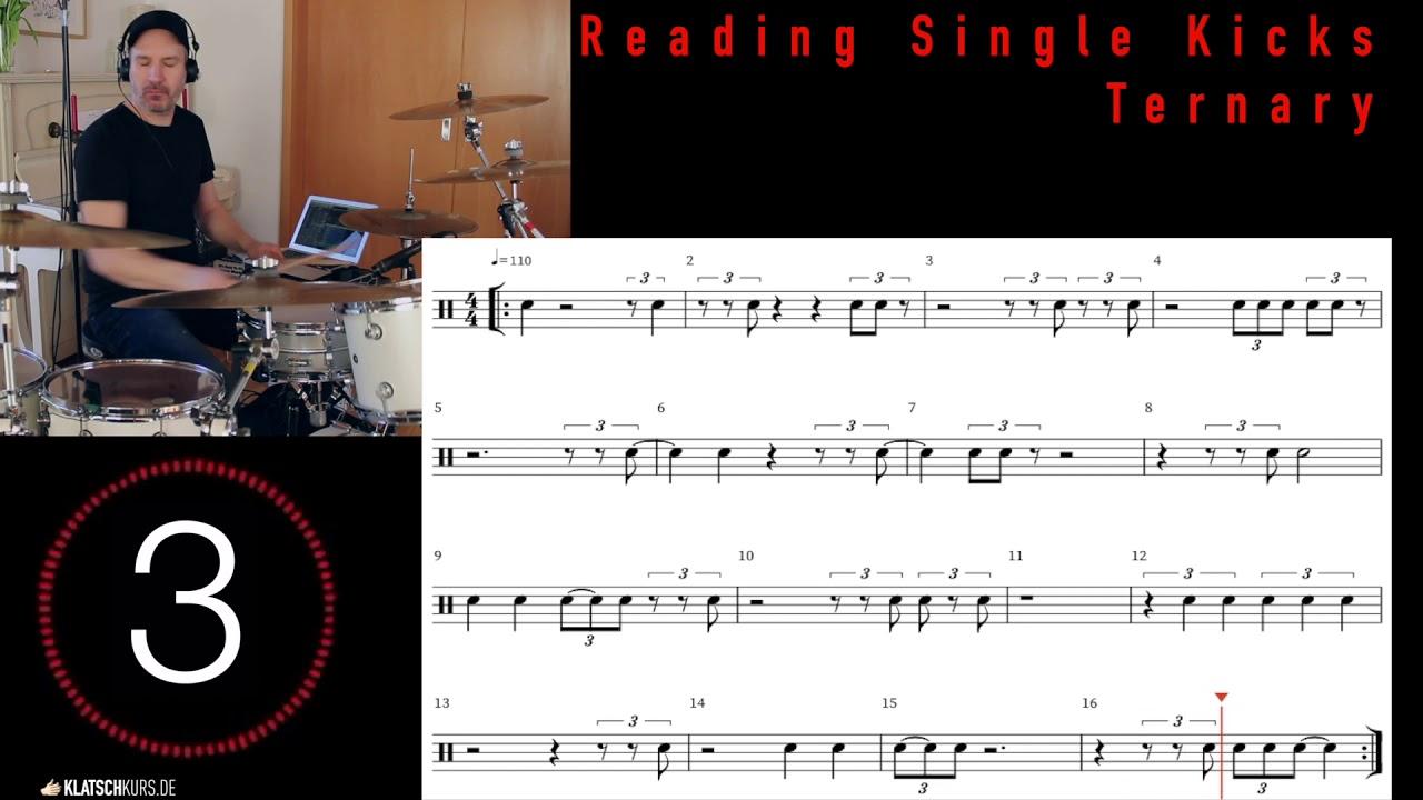 Reading Single Kicks Ternary, 110bpm, Full - Klatschkurs - Rhythm Reading - by Kristof Hinz