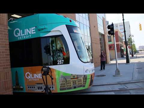 Detroit QLine LRV 287 Departing M-1 Rail Penske Centre Carhouse For Staging For The Official Opening