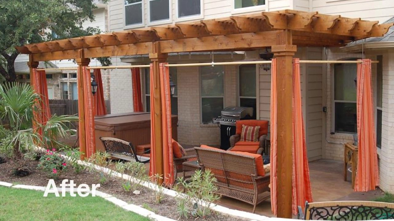 Austin Outdoor Living Before After 6 Pergola With Privacy Curtains