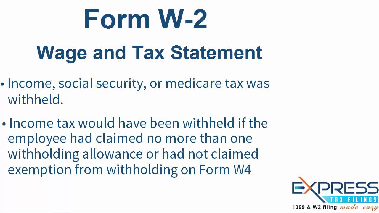 IRS W-2 Form, Wage and Tax Statement - ExpressTaxFilings - YouTube