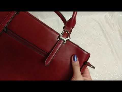 Бордовая сумка с накладными карманами