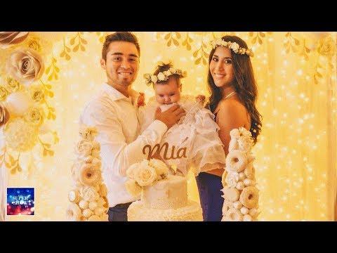 Melissa Paredes y Rodrigo Cuba celebrando el Bautizo de Mía