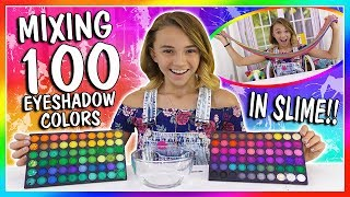 MIXING 100 EYESHADOW COLORS IN CLEAR SLIME| We Are The Davises