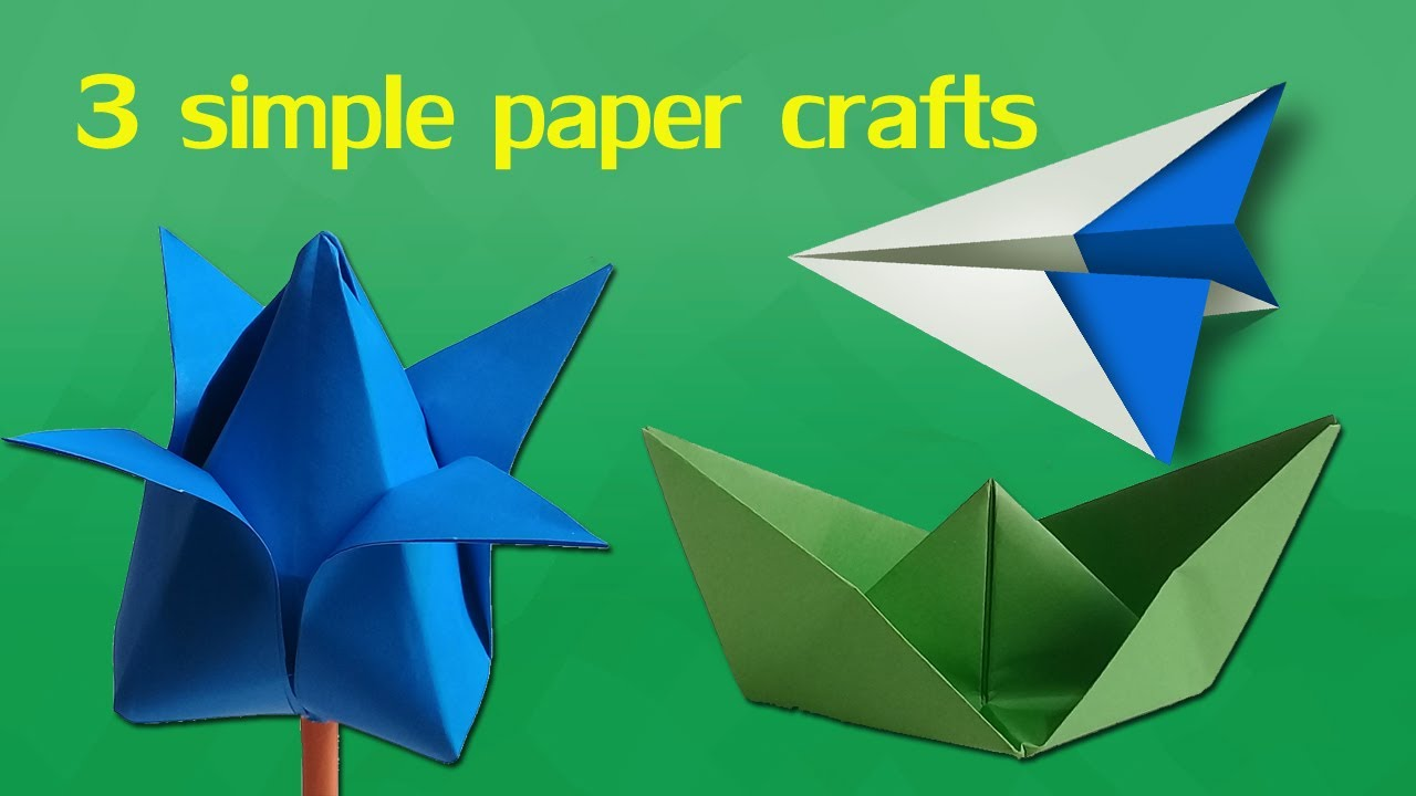 3 Simple Paper Crafts For Kids Easy Paper Craft For Kids Step By
