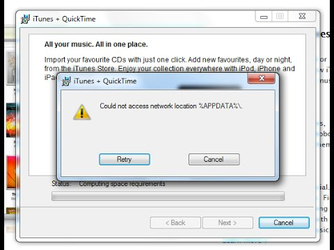 iTunes Upgrade - Fix Could Not Access Network Location %APPDATA%