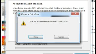 itunes upgrade fix could not access network location appdata