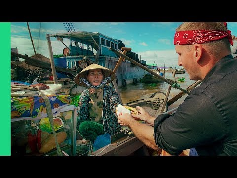 Magical  FLOATING MARKET TOUR in Cai Rang, Vietnam! (Bun Thit Nuong and Water Banh Mi??)