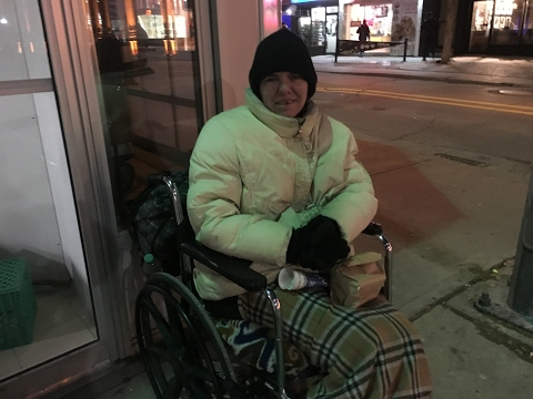 Jennifer is a young woman in a wheelchair and homeless in Toronto.