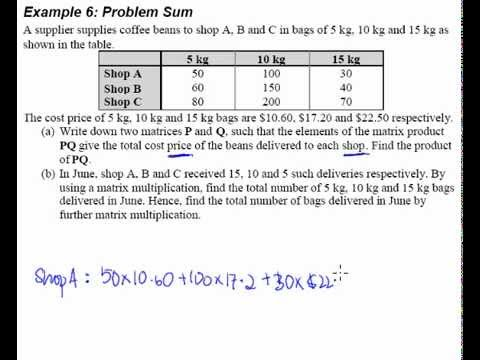 Matrices Example 6 Word problem - YouTube