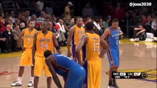 Kobe Bryant Fouled by Thabo Sefolosha, Exchanges Words - Thunder @ Lakers 3/29/2012