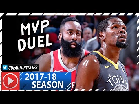 James Harden vs Kevin Durant MVP Duel Highlights (2018.01.20) Rockets vs Warriors - CRAZY!