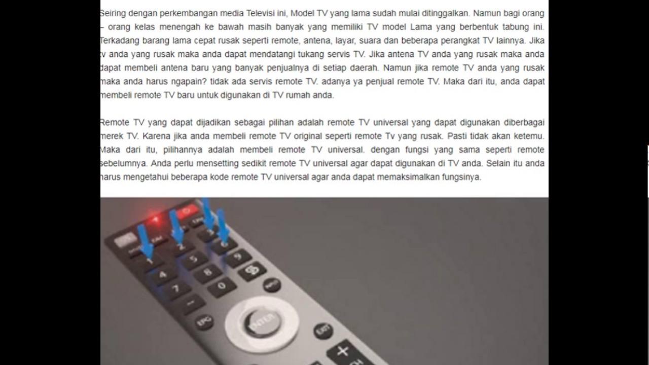 Cara Setting Kode Remote Tv Universal Semua Merek Televisi Youtube
