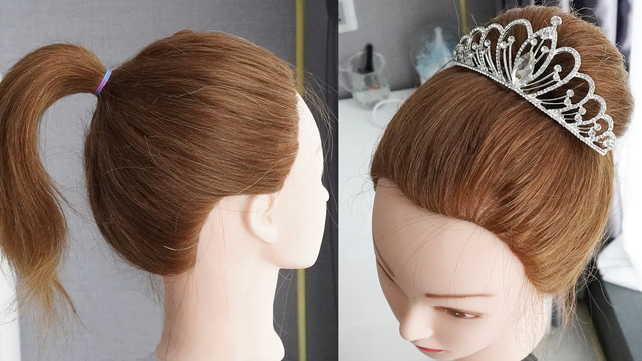 Bun Hairstyle With Crown | Bridal Hairstyle | Hairstyle For Saree | Ladies Hair Style|Hairstyle Girl
