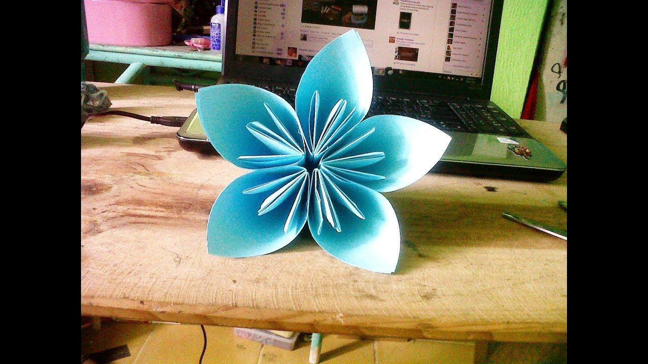 Origami Flor 5 pétalos - YouTube