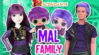 DESCENDANTS 🍎 MAL FAMILY with Barbie, Ken, LOL Surprise & LIL Sister Dolls - Toy Transformations