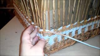 Плетение большого сундука из газетных трубочек. Урок 6.  Стенки сундука - часть 2.
