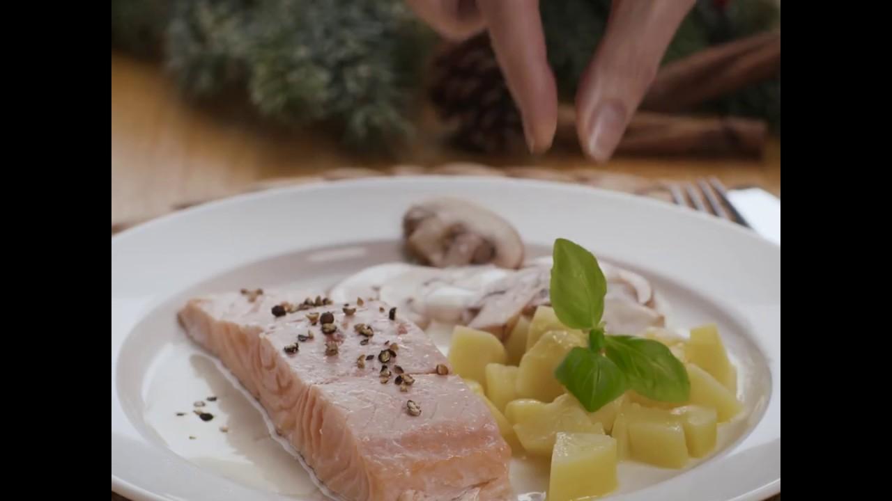 Salmone In Crema Di Funghi Con Patate Ricette Per Bimby Tm5