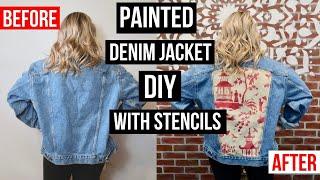 How To Stencil on Fabric | Custom Painted Denim Jacket DIY