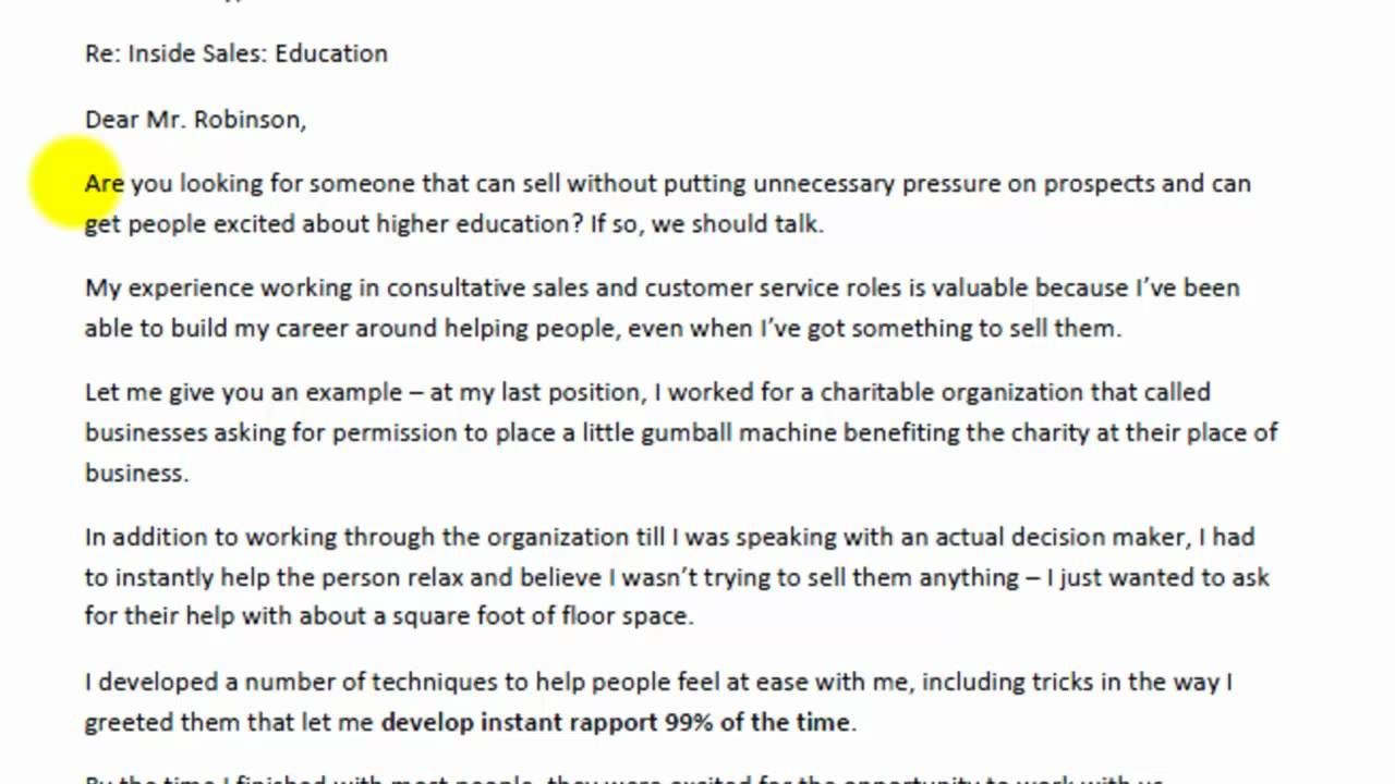 cover letter for sales representative examples career goal or – Sales Proposal Letter Example