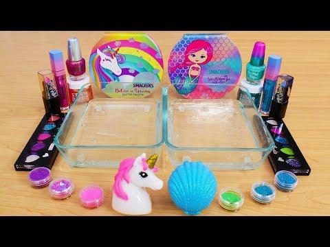 Unicorn vs Mermaid - Mixing Makeup Eyeshadow Into Slime! Special Series 102 Satisfying Slime Video