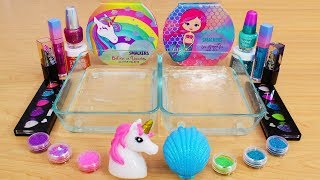 Unicorn vs Mermaid - Mixing Makeup Eyeshadow Into Slime! Special Series 102 Satisfying Slime Video