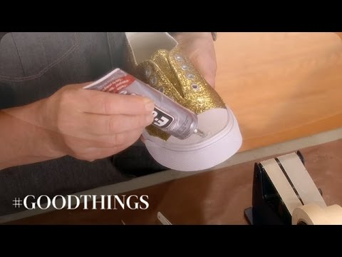 1ab15fddce Good Things  DIY Glitter and Rhinestone Sneakers - Martha Stewart ...