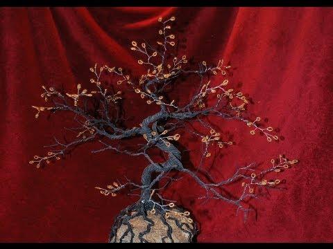Wire Bonsai Tree With Beads Autumn Bonsai Youtube