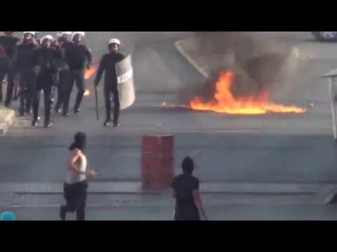 bahrain  clashes between protesters and regime mercenaries in aldair area, 18 10 2012