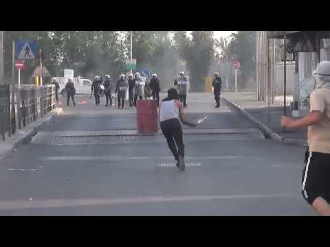 bahrain  clashes between protesters and regime mercenaries in aldair area, 18 10 2012