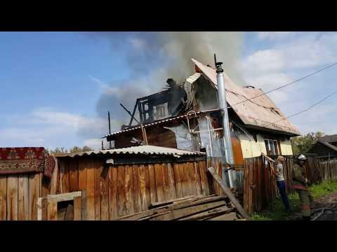 Пожар горит дом на дачах Минусинск