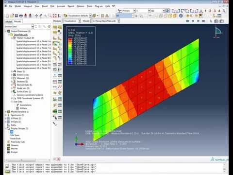 FEA Analysis Abaqus: Skew plate tutorial - shell elements