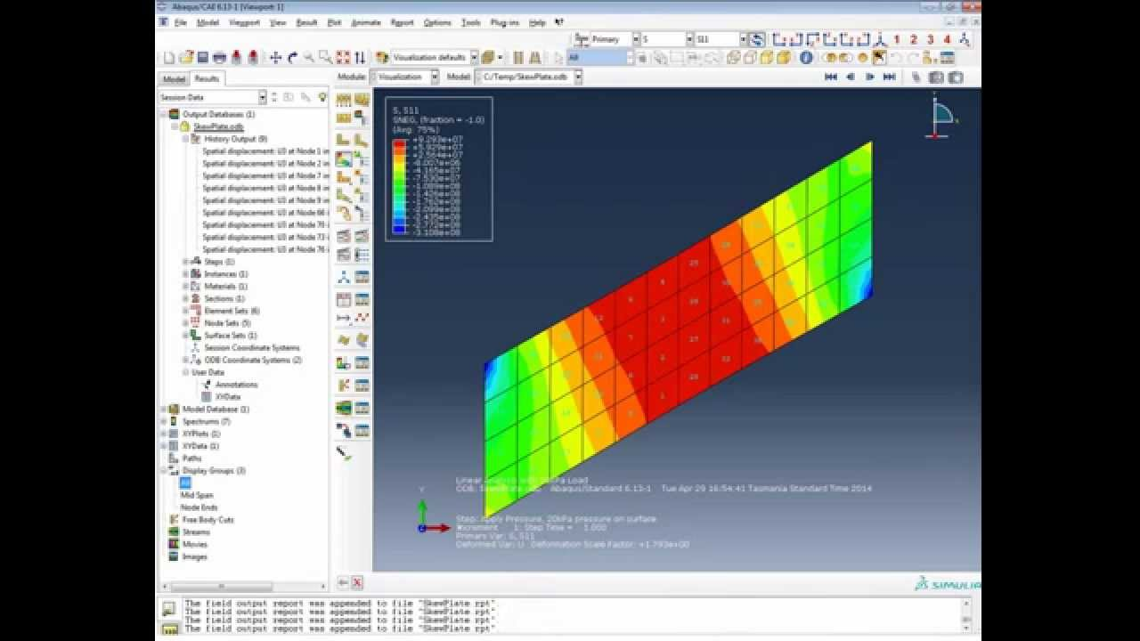 Fea Analysis Abaqus Skew Plate Tutorial Shell Elements